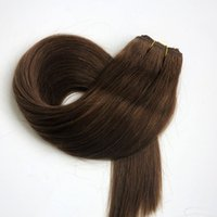 Wholesale 22inch human hair weft for sale - 100 Human hair wefts Brazilian hair weaves g inch Medium Brown Straight hair extensions tangle free Indian hair products