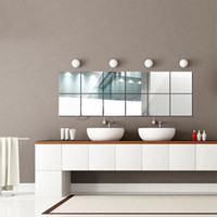 Novo 16pcs / Set 3D Mosaic Tiles Mirror Wall Sticker 15x15cm Square Self-Adhesive Home Sala de estar Quarto Banheiro Decor DIY