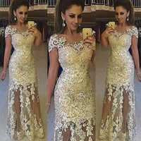 Wholesale Sexy Gorgeous Evening Dress Cheap - Gorgeous Gold Applique Evening Dresses 2016 Cheap Mermaid Illusion Neckline Short Sleeve Beads Floor Length Tulle Formal Prom Gowns