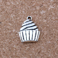 Wholesale Wholesale Cupcake Charm - MIC .100pcs  lot Antique silver Alloy Single-sided Cupcake Dessert Food Cake Charms Pendant 14.5x20mm DIY Jewelry A-127