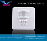 Wholesale Infrared Distance Sensors - 220 -240V AC High quality Detection Distance 9m max PIR infrared motion sensor detector switch (4pc SZOL031B)