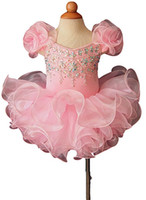 karışık gelinlik toptan satış-Bling Fırfır Boncuk Cupcake Doğum Günü Kız Pageant Elbise 2018 Kısa Kız Communion Elbise Çocuklar Resmi Giyim Çiçek Kız Elbise Düğün için