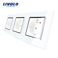 Wholesale Socket Outlet Eu - Livolo New EU Standard Power Socket, White Crystal Glass Outlet Panel, Multi-function Triple Wall Power Outlet Without Plug VL-C7C3EU-11