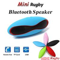 usb mini hoparlör dizüstü toptan satış-Taşınabilir Mini Hoparlörler Bassball Rugby Stil X6 X6U Bluetooth Kablosuz Hoparlör Futbol Futbol Subwoofer Mikrofon iPhone 6 Laptop 6 S