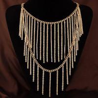 Wholesale European Vintage Choker - 2015 Simple European Collar New Fashion Vintage Punk Gold Double Layer Chain Tassel Pendant Choker Necklace Chain Charm Jewelry Women