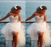 Wholesale High Low Sweetheart Corset Dress - Exquisite Pearl Hi-Lo Short Beach Wedding Dresses 2015 Casomento Sexy Corset Beaded Sweetheart High Low Bridal Gowns