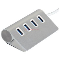 Wholesale Aluminium Anodised - Free Shipping High Speed 5GBPS Hot Powered USB Hub 4 Port USB Hub 3.0 Hub Adapter for Apple PC Laptop Anodised Aluminium