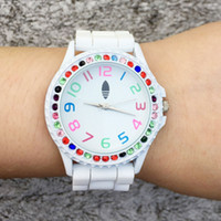 Wholesale Crystal Watch Silicone Band - Casual AD Clover Women's Girls 3 Leaves leaf Colorful crystal style dial Silicone band Analog Quartz watch AD15