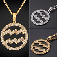 Wholesale gold zodiac necklace - U7 Zodiac Charms AQUARIUS Pendant Necklace Simple Women Men Jewelry Gift Rhinestone Gold Platinum Plated Necklace Perfect Gifts P2501