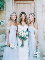 Wholesale Cheap Short Baby Blue Dresses - Bohemian Country Style Baby Blue Bridesmaids Dresses Cheap Off Shoulder Pleats Draped Chiffon Maid Of Honor Wedding Party Dress 2016 New