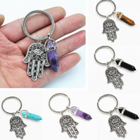Wholesale Natural Blue Stone Rings - Fashion Keychain Hand of Fatima Charm Blue Evil Eye Hamsa Hands Pendant Handbag Charms Natural Stone Key Rings Keyring Chains Holder