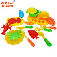 Wholesale Toy Pot Set - Wholesale- Global Deone 16pcs set Baby Kitchen Toys Artificial Tableware House Kid's Utensils Cooking Pots Children Pretend Play Toys