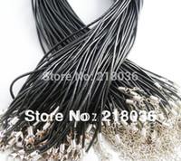 collar de cordón negro de las mujeres al por mayor-100 UNIDS Real Gargantilla Cuero Negro Cordón Declaración Para Las Mujeres Collar Encantos Europeos Encantos Niñas Bijoux 24 pulgadas Joyería DIY M2037
