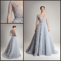 Wholesale Al Training - Cascades 2015 Evening dresses Hamda Al Fahim with V Neck Backless Ball gown Blue Tulle Long Sleeve Sleeveless Prom Gowns Sweep Train 03