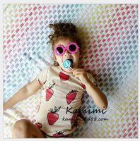 Wholesale Strawberry Cotton Shirts - 2016 Summer New Strawberry Printed Short Sleeve T-shirt Vest Skirt Romper Kids Clothing Baby Boys Girls Fashion Clothes 80-110cm 6pcs lot