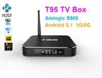 Wholesale Skybox Full Hd - T95 Android TV Box S905 S905X Quad Core KDI16.1 fully loaded Android 5.1 8 Core Skybox WIFI 1000M BaseT metal case 4K Smart TV Box