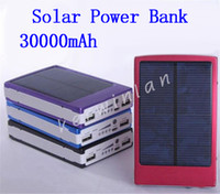 Wholesale Gps Solar Power - 30000mah Solar Battery Charger Solar Mobile Power Bank Battery Solar Charger for GPS MP3 PDA Mobile Phone Cell Phone
