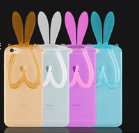 Wholesale Wholesale Iphone Bunny Case - Cartoon Rabbit Ear Soft Clear Stand Phone Case Bunny Transparent Cover With Lanyard For Iphone 5 6 6s Plus Samsung S4 S5 S6