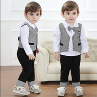 4Set Baby Boys Gentleman Kleidung Anzüge Kinder Langarm Bindung Pure White T-Shirt Top + Lange Hosen + Plaid Weste 3Pcs Set Kinder Casual Kleidung