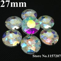 Wholesale Color Metal Spikes - Sew on 27mm 44Pcs Pack Crystal Clear AB Color Baoshihua Round Crystal Fancy Stone with 4 Holes Metal Claw Setting
