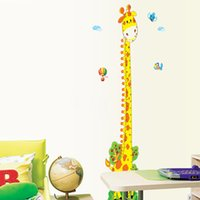 Wholesale Kids Chart Height Wall Decal - Cartoon Cute Giraffe kids height Growth charts Wall Stickers PVC Removable Children Room Art Decor Decal