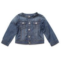 Wholesale Retail Denim Jacket Girls - Retail baby girl Denim jacket coat 2015 spring autumn kids clothing bow long sleeve children Cowboy outwear solid girls costumes 201509HX