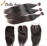 cheveux péruviens bellahair achat en gros de-Cheveux tisse avec fermeture Indien péruvien malaisien brésilien Cheveux humains non transformés Tissent des cheveux noirs soyeux tout droit BellaHair Bundles