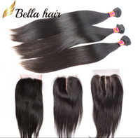 Wholesale Silky Human Hair Weave - Hair Weaves with Closure Indian Peruvian Malaysian Brazilian Hair Unprocessed Human Hair Weave Black Silky Straight BellaHair Bundles