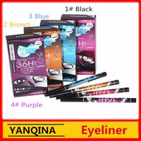 Wholesale Blue Color Eyeliner - YANQINA 36h waterproof eyeliner yanqina makeup Pencil Black Brown blue purple 4 Colors Pen Liquid Eye liner Cosmetics Long Lasting 12pcs set