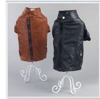 Wholesale Leather Pet Coats - New fashion hot sale Pet clothes spring autumn dog clothes large dog leather Coats Jackets free shipping