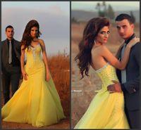 vestidos de fiesta de tul amarillo largos al por mayor-2016 Nuevos Vestidos de Noche Magníficos Cristalino Largo Perla Glitz Sirena Tulle Amarillo Vestido de Fiesta Formal Vestidos de baile vestido de festa árabe árabe