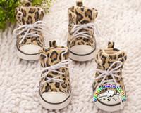 sapatos de cachorro grande venda por atacado-CA906 Hot sale dog shoes leopardo denim antiderrapante botas de inverno chihuahua filhote de cachorro sapatos grandes sapatos de cão