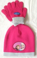 Wholesale Hat Scarf Princess - Girls christmas gifts Pink frozen scarf hat set frozen scarves cap,Anna Elsa princess Children knit kids girl baby hats caps