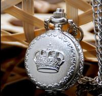 Wholesale Crown Pocket Watch - Wholesale 10 pcses Fashion quartz Unique design women elegant White steel crown pendant Necklace pocket watch