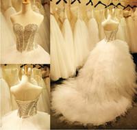 ingrosso eleganti abiti da sposa in raso di raso-Abiti da sposa con scollo a cuore e abiti da sposa in tulle con perline di tulle in raso