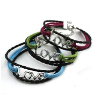 Wholesale Braided Leather Bracelet Directions - Love style Infinity Retro Tribal Leather One direction Bracelet Men Women Rope charm love Braided Bracelet wristbands vintage jewelry