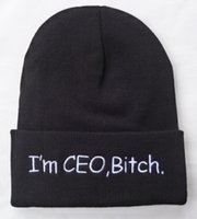 Soy CEO Bitch Knitting Beanie Hat Hot Winter Knit Pattern Gorros Cap Hombres Mujeres Letras Bordado Sombreros de punto Club Skull Caps