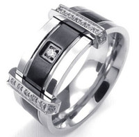 Wholesale Mens Black Engagement Rings - Mens Cubic Zirconia Stainless Steel Ring Charm Elegant Wedding Band Black Silver US Size 7 to 13 Drop Shipping