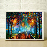 Wholesale Modern Romantic Paintings - Romantic street lamp hand painted oil painting modern living room restaurant simple decorative style canvas painting JL003
