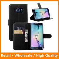 Wholesale Cellphone Sleeves - Luxury Business Retro Leather Flip Case for Samsung Galaxy S6 Edge Cellphone Sleeve Wallet Stand Card Holder Cover Bags