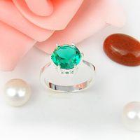 Wholesale Prasiolite Jewelry - 5pcs lot Wholesale Holiday Jewelry Weddings Jewelry Round Green Amethyst Prasiolite Gems 925 Sterling Silver Ring USA Size 7 8 9