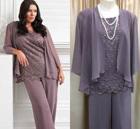2018 Fashion Light Purple Chiffon Plus Size Pants Suits For Mother Of Bride Summer Beach Wedding Party Dress Suit Brides Grooms