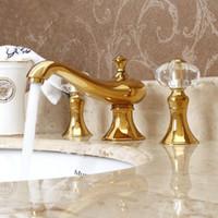 Wholesale Crystal Bath Faucets - 3Pcs Faucet Set Golden Polished Bathroom Basin Sink Mixer Tap 2 Crystal Handles Bath Faucets