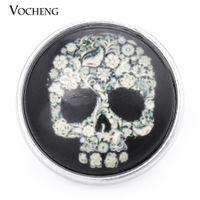 Wholesale Black Skull Glasses - VOCHENG NOOSA 18mm Skull Black Glass Ginger Snap Jewelry Vn-998