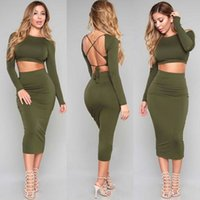 Wholesale Military Women S Dress - Military Dress 2016 2 Piece Set Women Two Piece Outfits Bandage Bodycon Dresses Long Sleeve Robe Sexy Backless Vestidos Clothing
