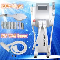 Wholesale Tattoo Machine Handle - SHR E-light+ND-Yag laser two handles for hair removal Skin Rejuvenation Acne Therapy tattoo removal laser machine