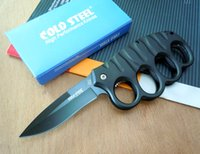 Wholesale Handle Retail Boxes - Cold steel Knuckle Duster pocket knife folding blade 7CR17Mov Blade Aluminum Handle hunting tactical camping knife knives with retail box