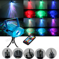 Wholesale Theater Lighting Night Lights - 9W 7colors RGB Mini Led Laser Stage Light Portable Ocean Moving Waves Effect Projector Lighting DJ Theater Ballroom Clubs Party Night Light