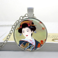 Wholesale Japanese Copper Wholesale - Womens Necklace Fashion Japanese Geisha Necklace Japanese Geisha Pendant Handcrafted Photo Glass Dome Necklace I31