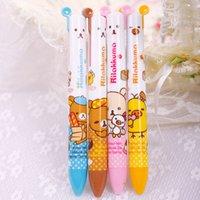 Wholesale Two Color Pens - 10 Pcs lot Practical Lovely Two-color Changable Home Office Study Bear Ballpoint Pen #52227